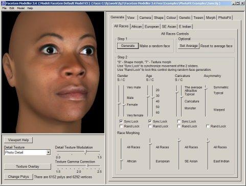 برنامج FaceGen v3.4.1 لتحويل صور اصدقائك من شاب لعجوز لامراءه وافريقى او حتى صي Modeller34_capture